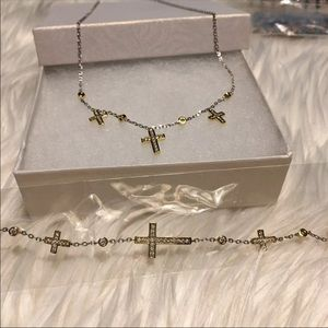 Beautiful Gold Plated Cross Necklace Set